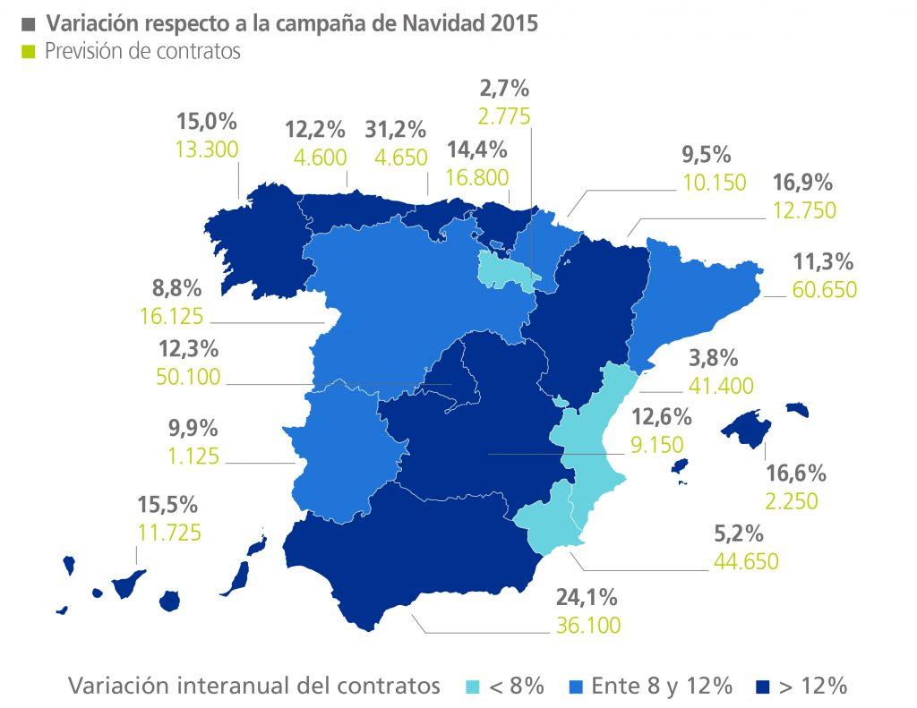 mapa España | variación contrataciones navidad 2015-2016
