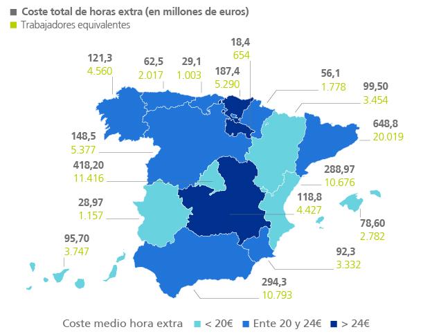 coste de horas extras en España | análisis Randstad | junio 2017