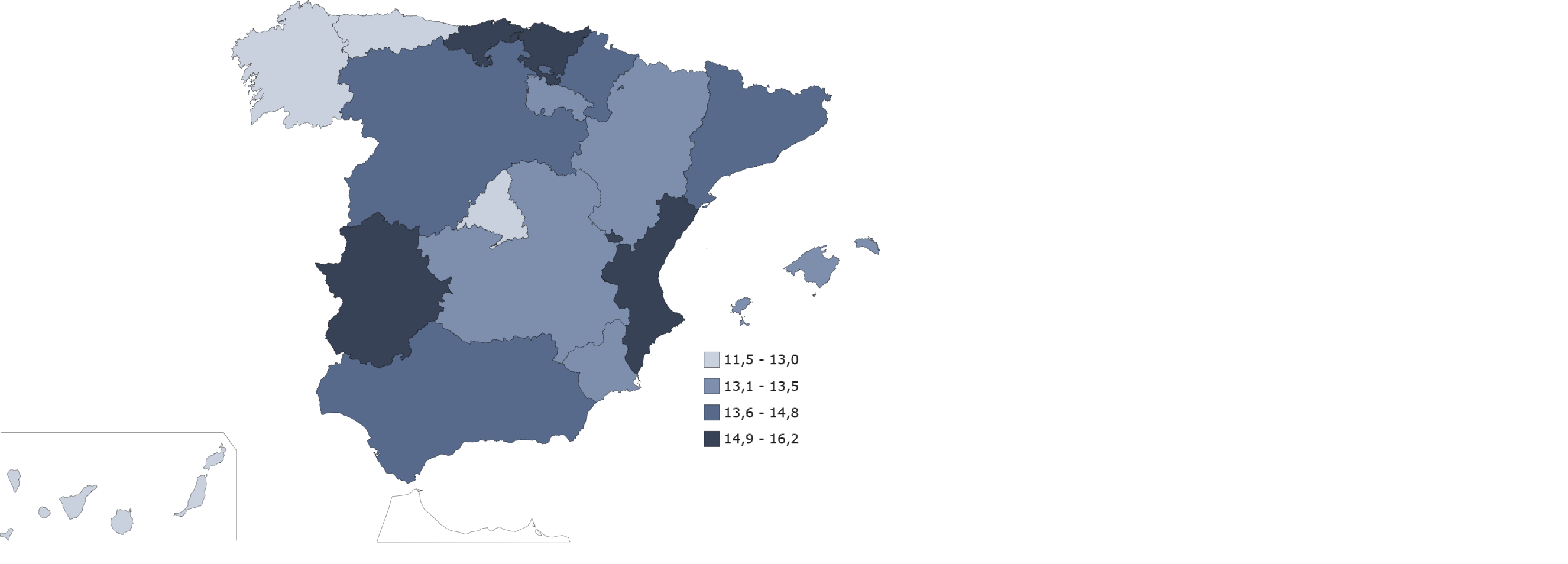 Tasa de ocupación a tiempo parcial por comunidad autónoma